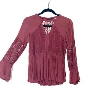 Maroon Baby Doll Blouse with Lace Detail